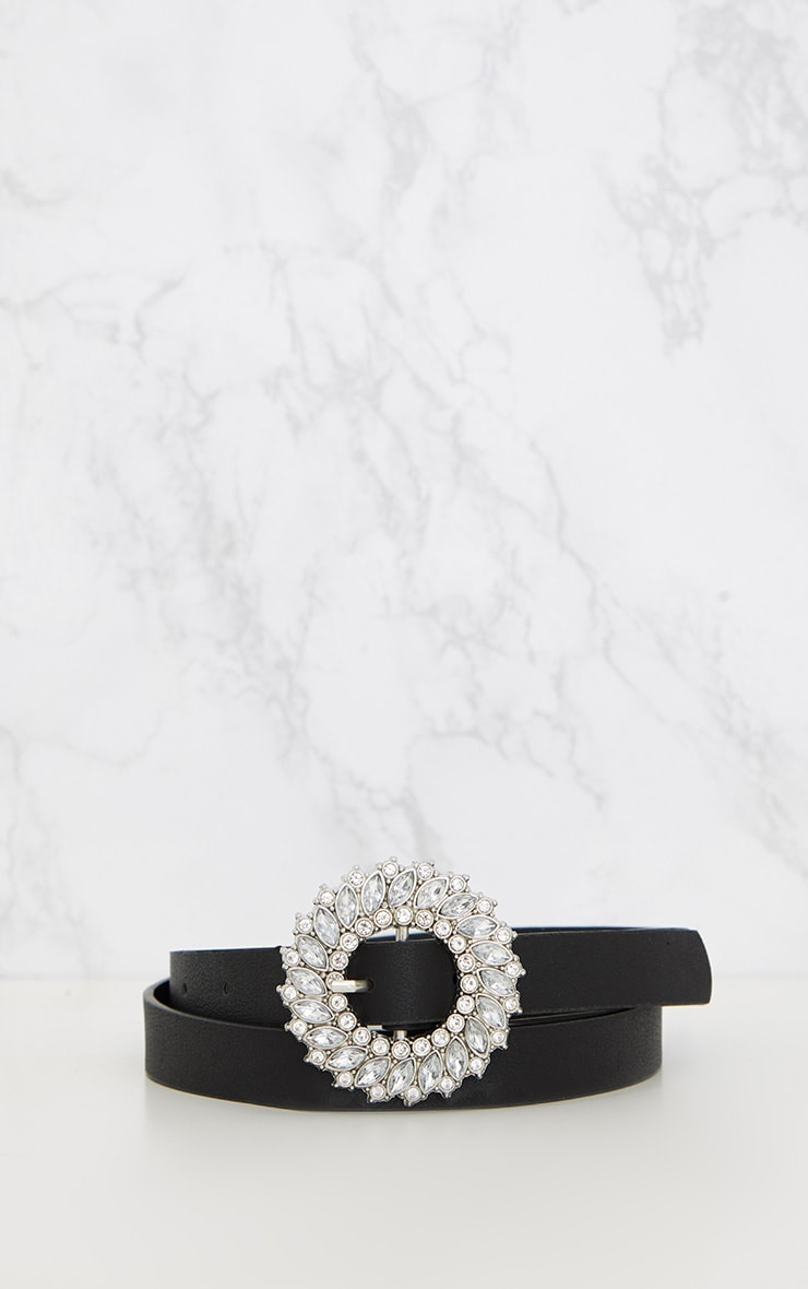 Black Diamante Circle Skinny Belt 4