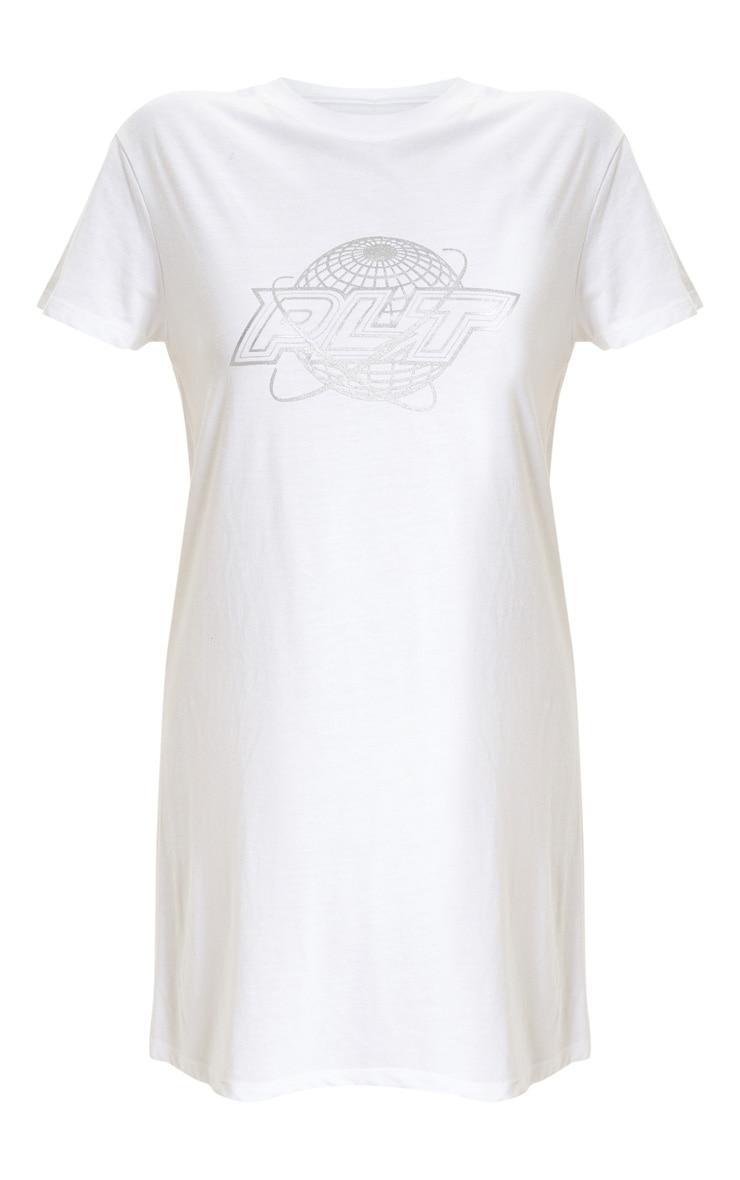 PRETTYLITTLETHING White Space Slogan Oversized T Shirt Dress 3