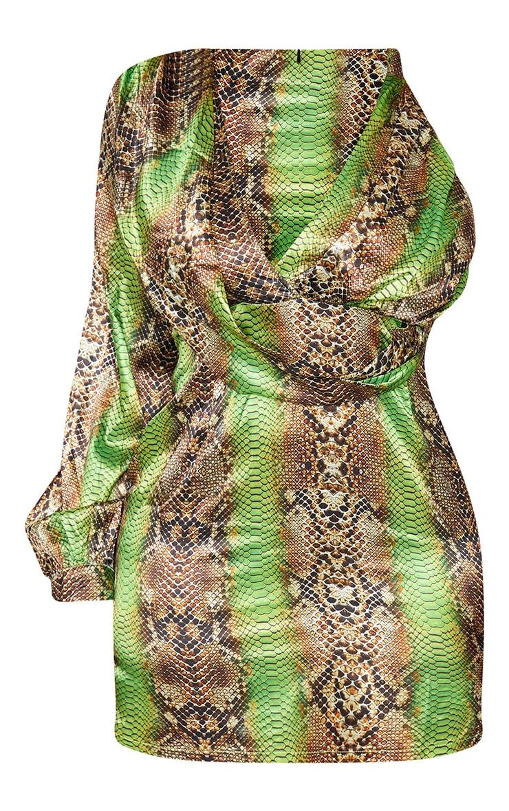 Plus Lime Satin Snake Print One Sleeve Twist Dress 1