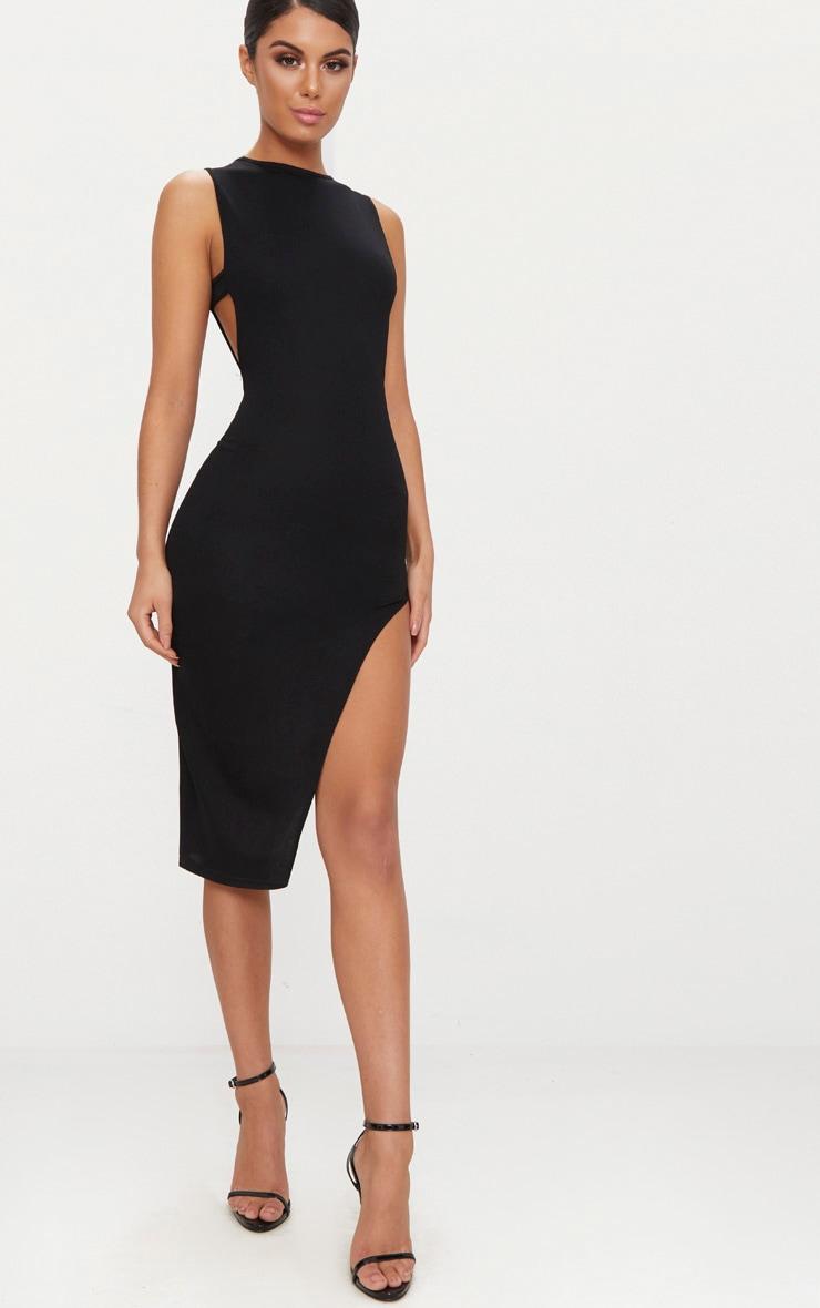 Black Side Strap Detail Extreme Split Midaxi Dress