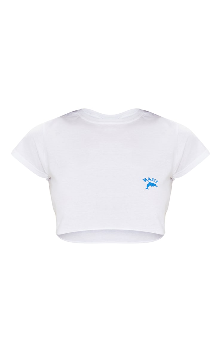White Maui Dolphin Embroidered Crop T Shirt 5