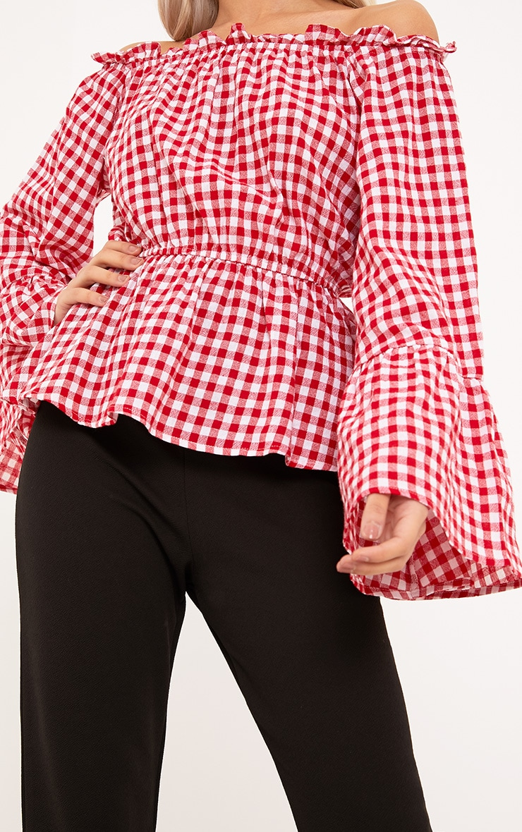Nellie Red Gingham Check Bardot Top  5