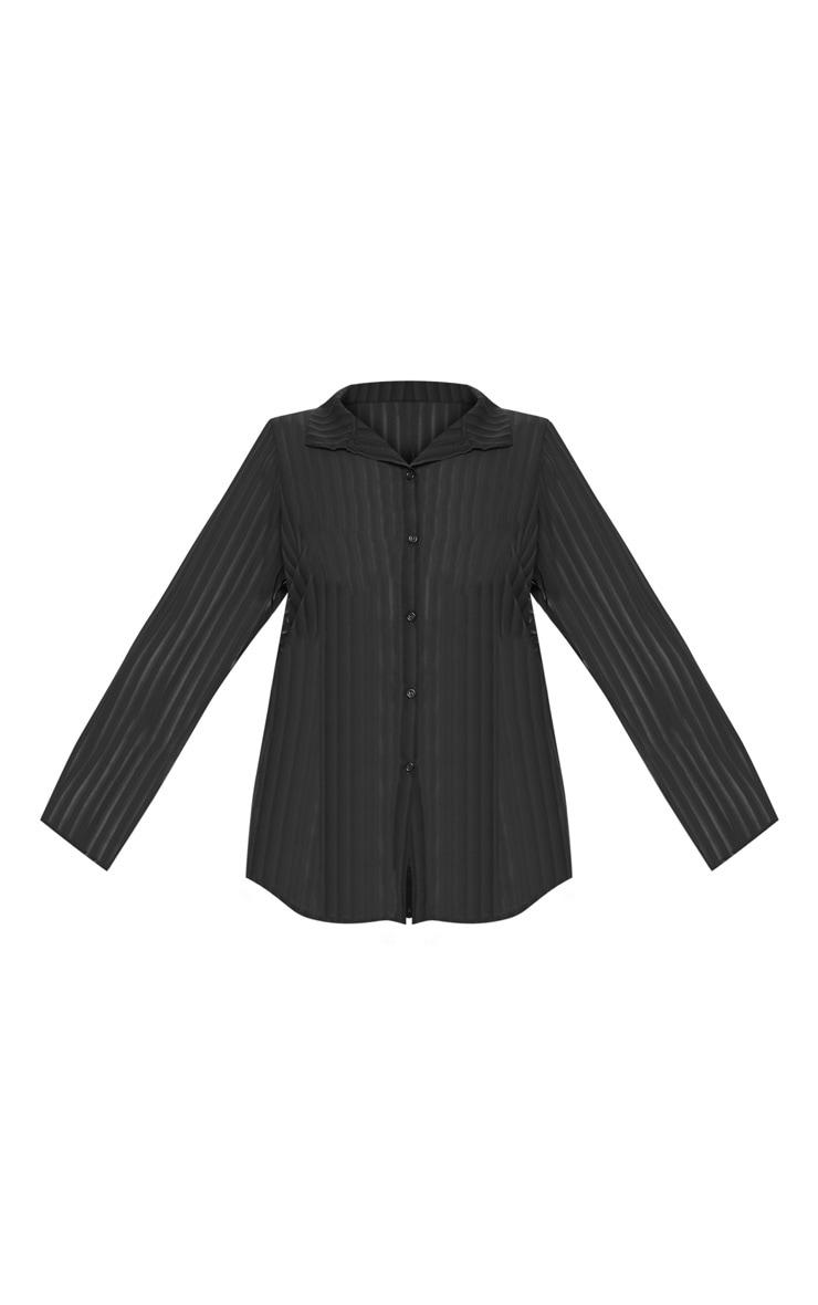 Plus Black Striped Chiffon Oversized Shirt 3
