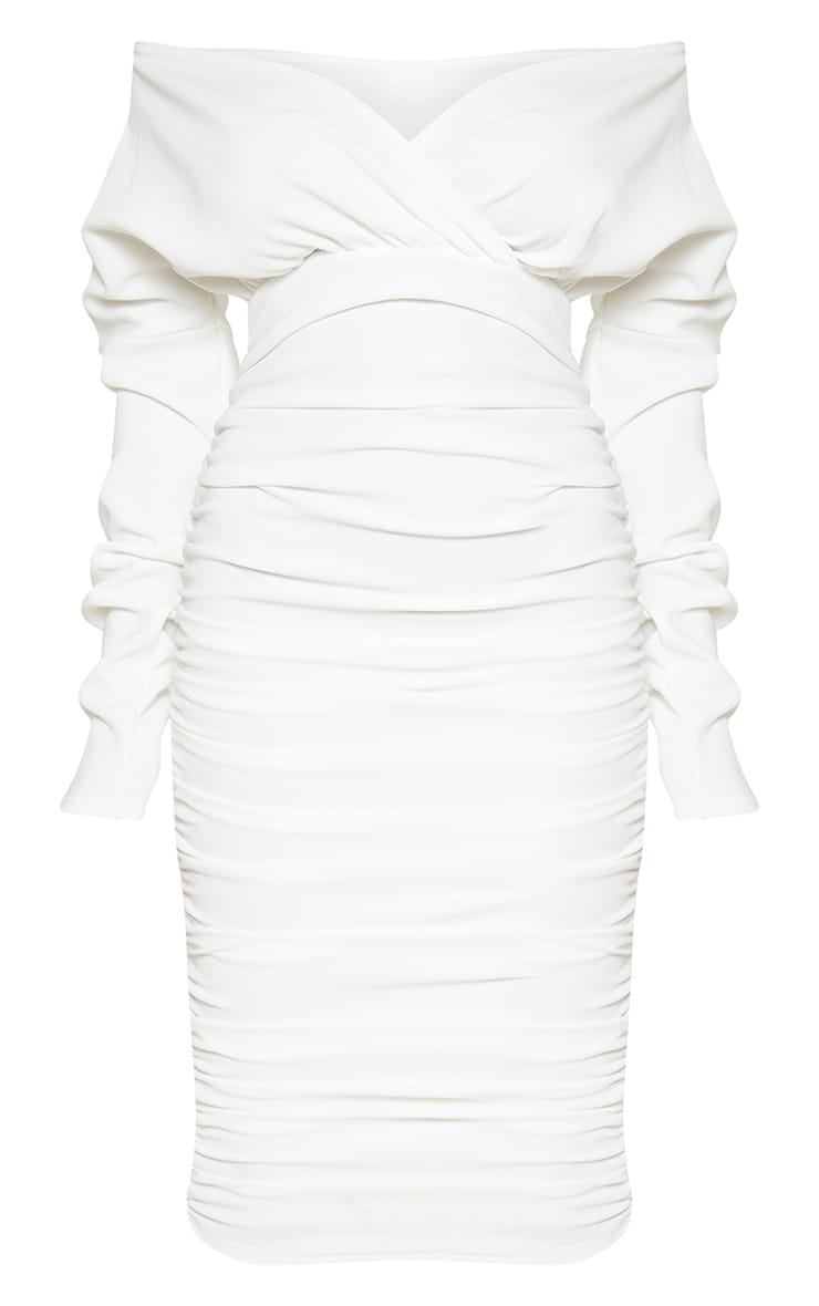 White Ruched Rib Bardot Midi Dress 3