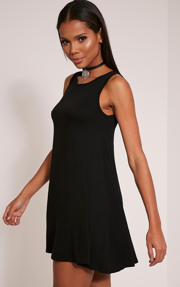 Basic robe trapèze noire sans manches 4