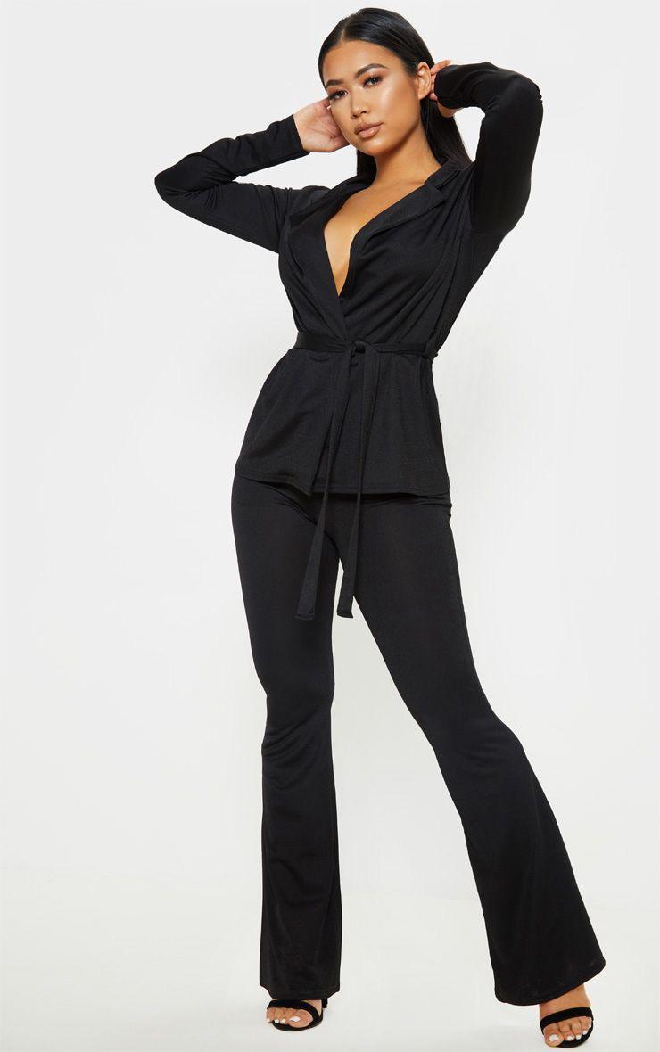 Petite - Pantalon flare noir 1