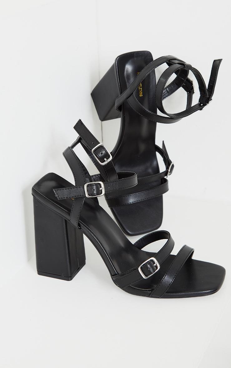 Black Wide Fit PU Buckle Trim Ankle Strap High Block Heels 3