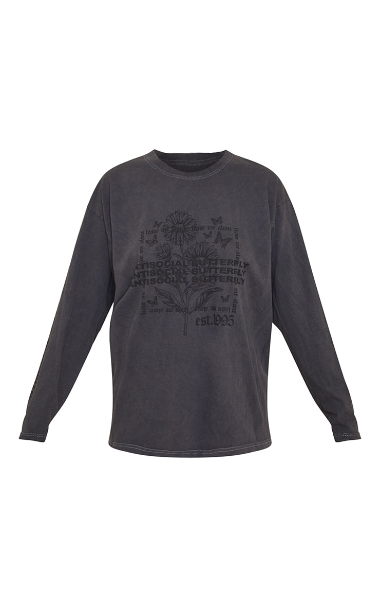 Grey Antisocial Butterfly Arm Print Washed Long Sleeve T Shirt 5