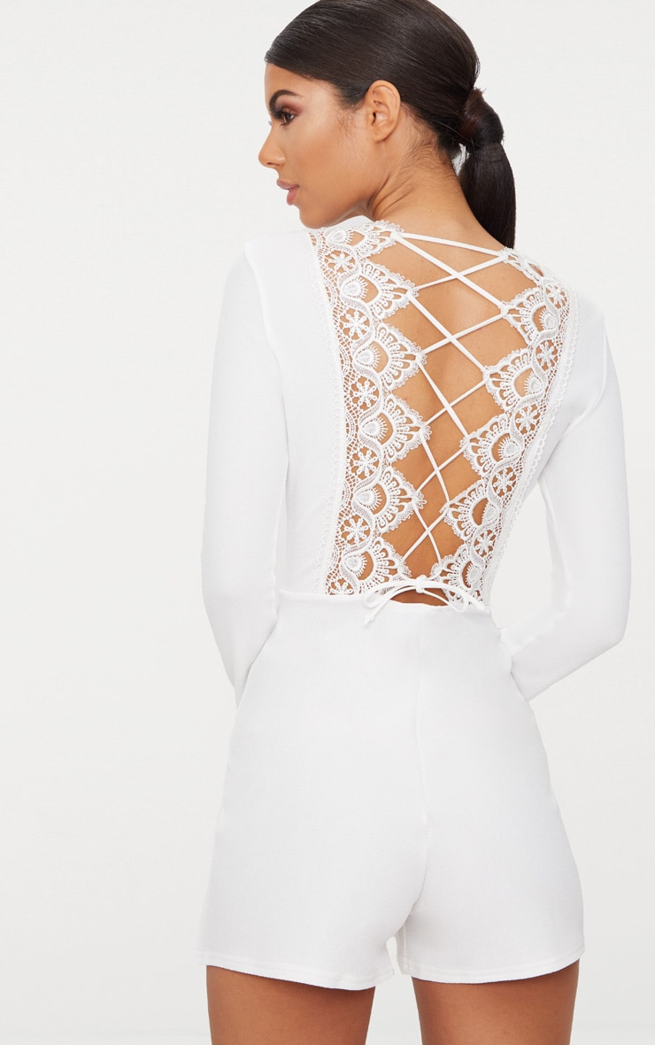 White Lace Up Back Playsuit 1