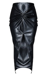 Black Faux Leather Twist Detail Front Midi Skirt 5