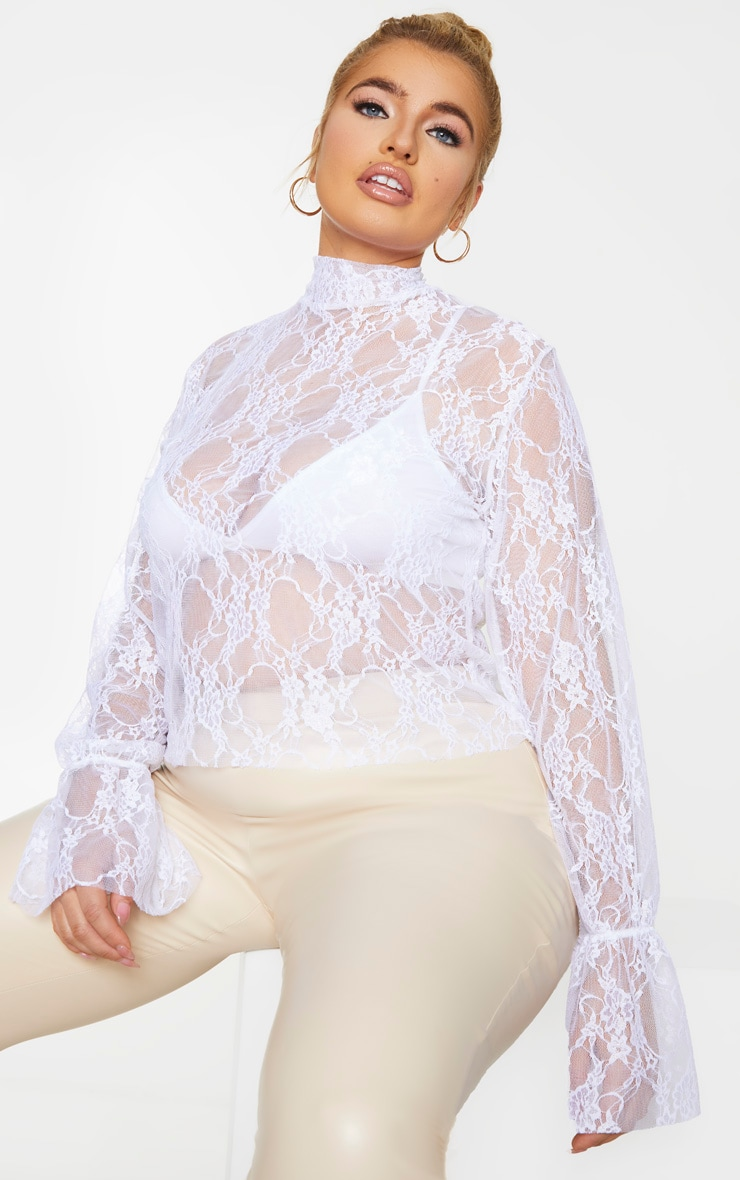 Plus White Lace High Neck Frill Cuff Blouse 3