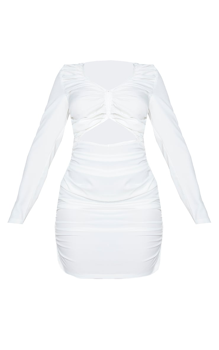 Shape White Extreme Ruched Hook And Eye Cut Out Bodycon Dress 5