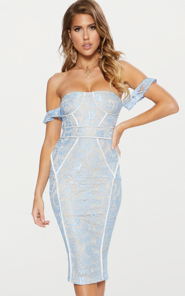Dusty Blue Lace Binding Detail Bardot Midi Dress 1