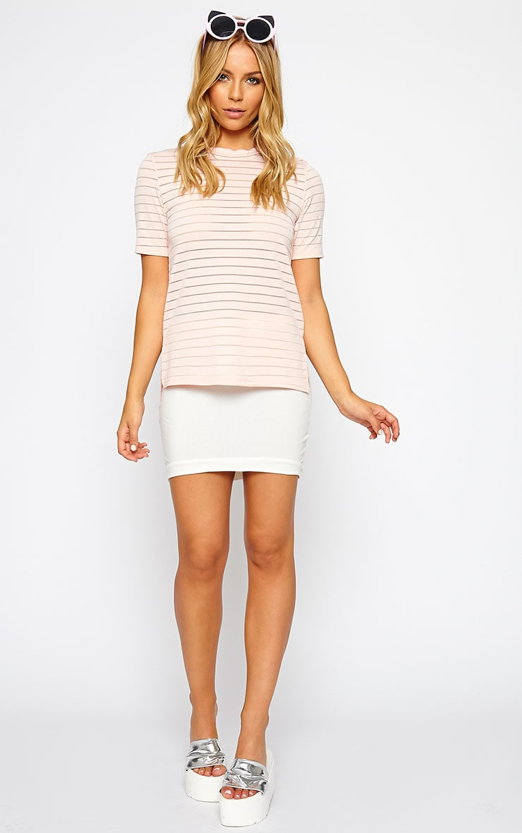 Elodie Nude Stripe Burnout T-Shirt 3