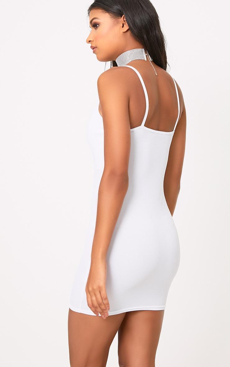White Strappy Plunge Bodycon Dress 2