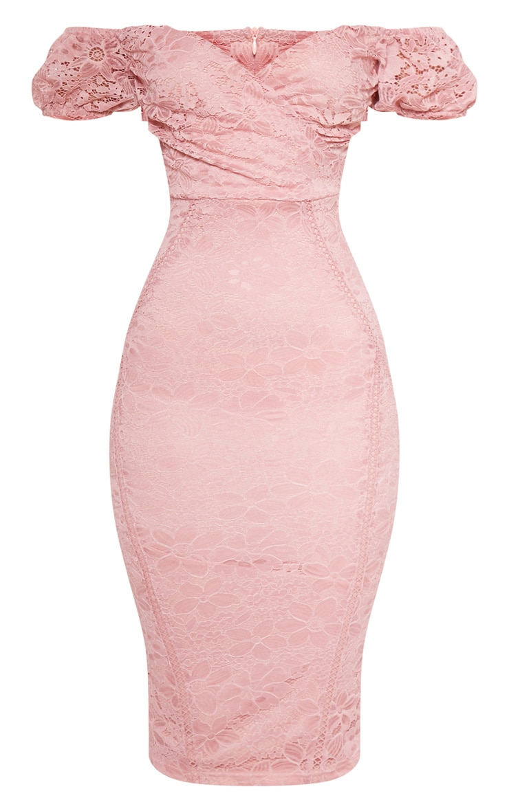 Rose Lace Bardot Wrap Midi Dress 3
