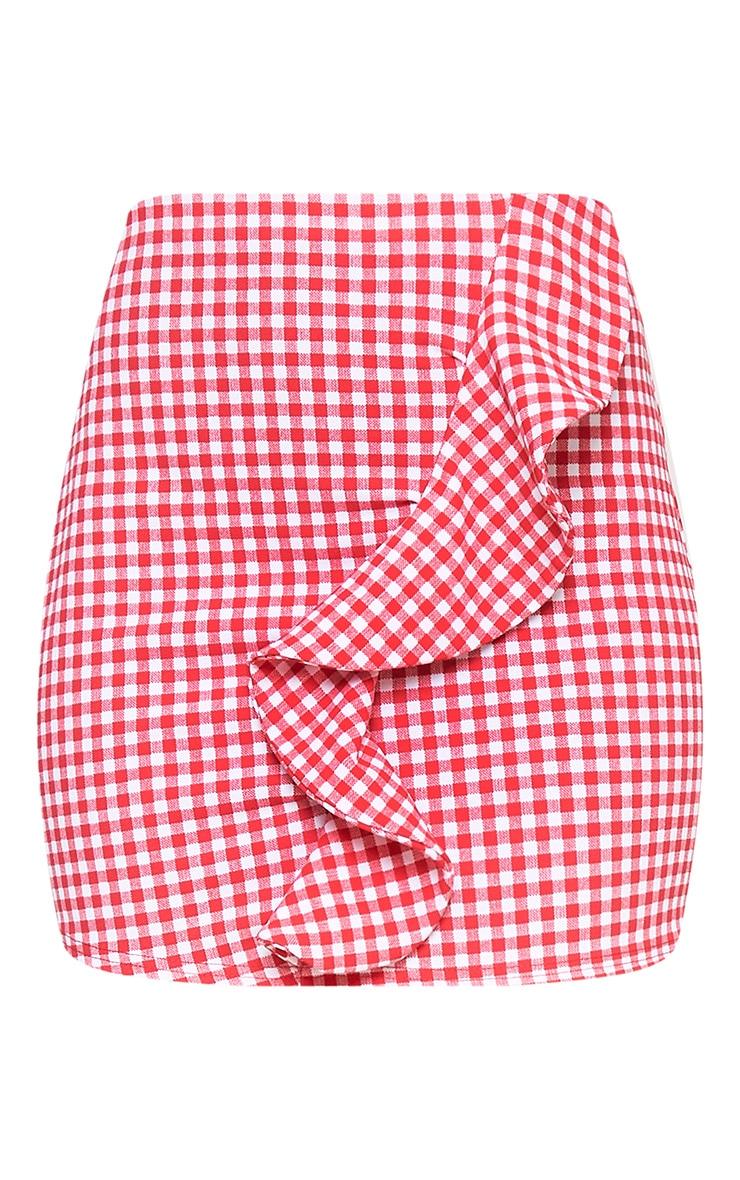 Red Gingham Ruffle Mini Skirt 2