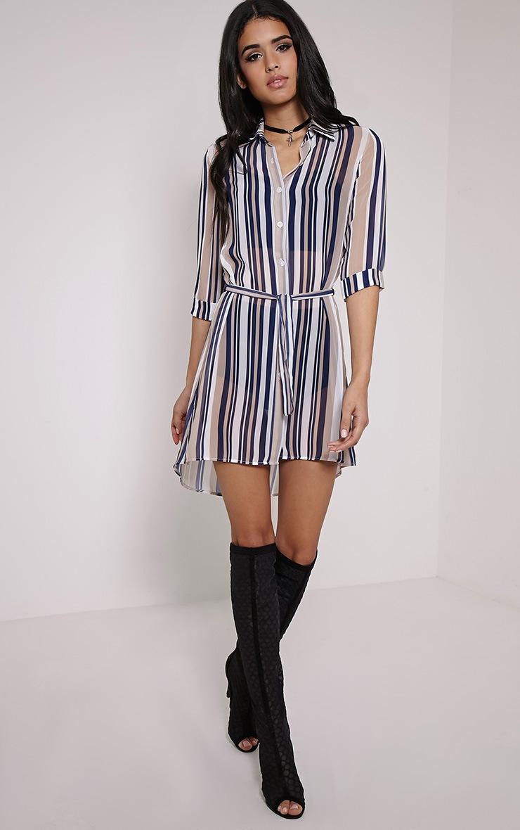 Mara Beige Stripe Shirt Dress 3