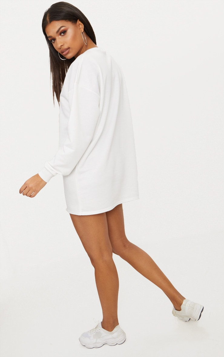 PRETTYLITTLETHING White Embroidered Jumper Dress 2