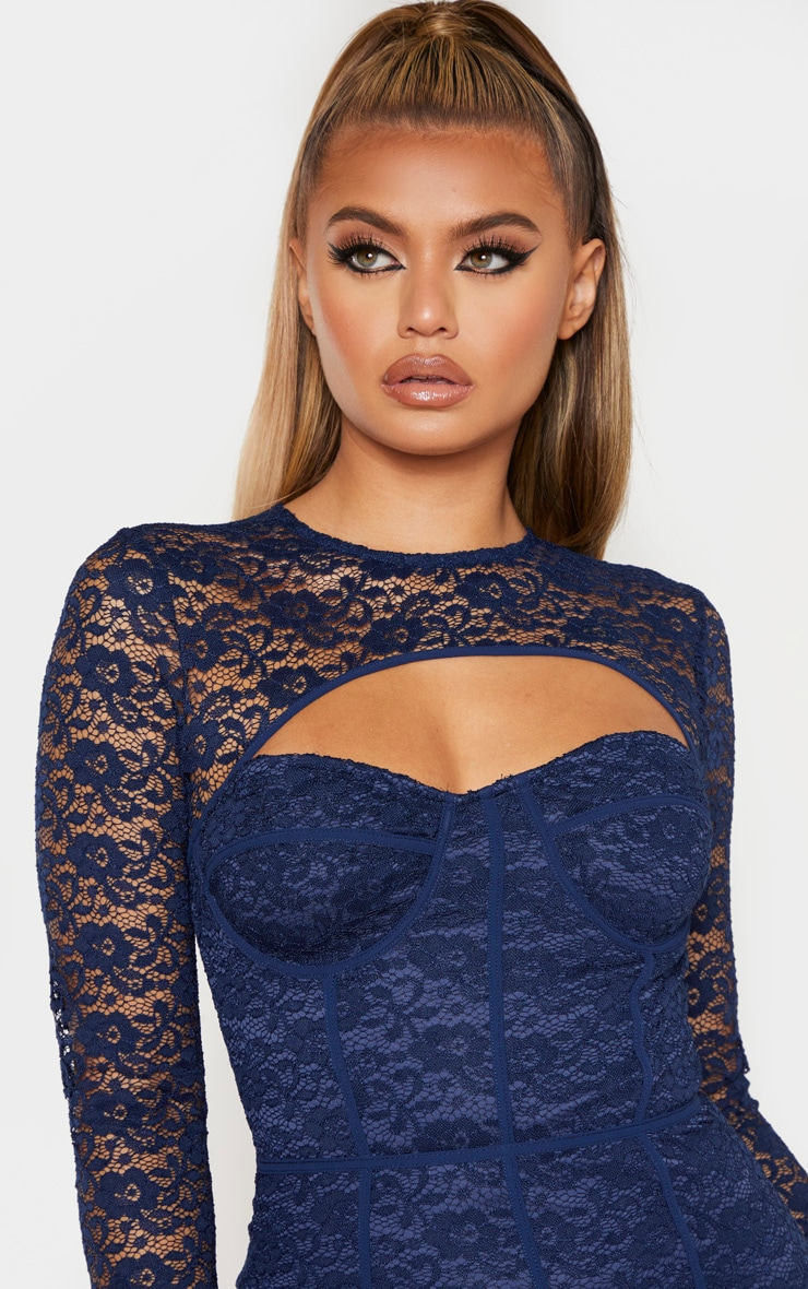 Navy Lace Cut Out Cup Detail Binding Bodycon Dress 4