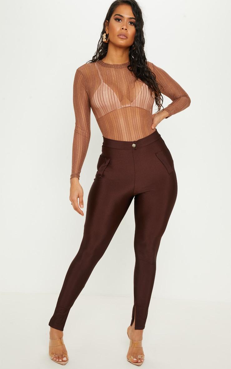 Camel Glitter Knit Bodysuit 5