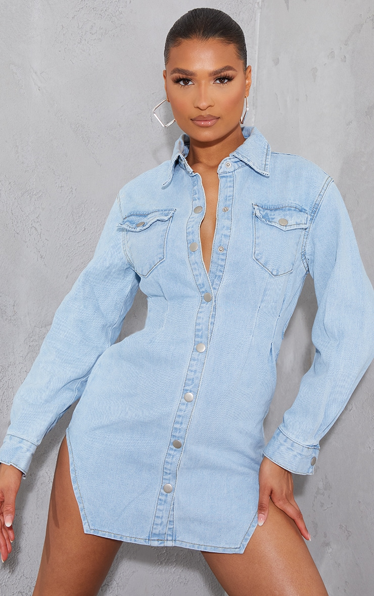 Light Blue Wash Cinched Waist Long Sleeve Denim Dress 1