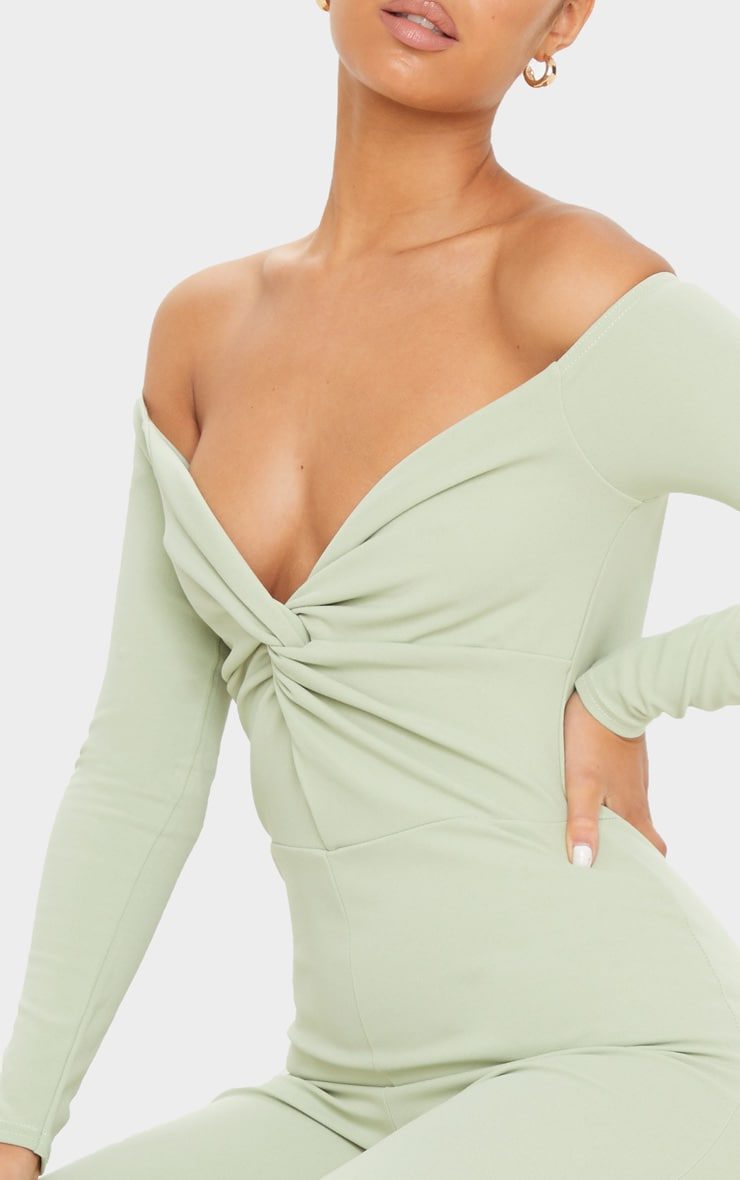 Sage Green Bardot Twist Front Jumpsuit 5