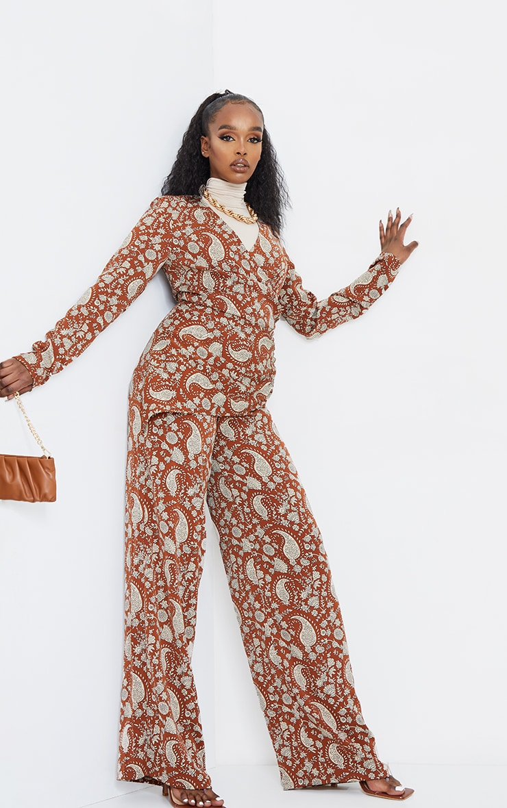 Rust Paisley Ruched V Neck Long Sleeve Jumpsuit 1