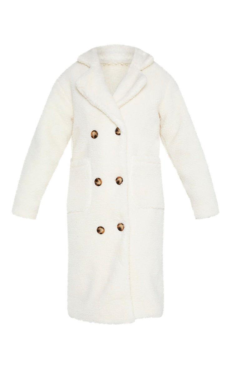 Tall Cream Borg Midi Coat 3