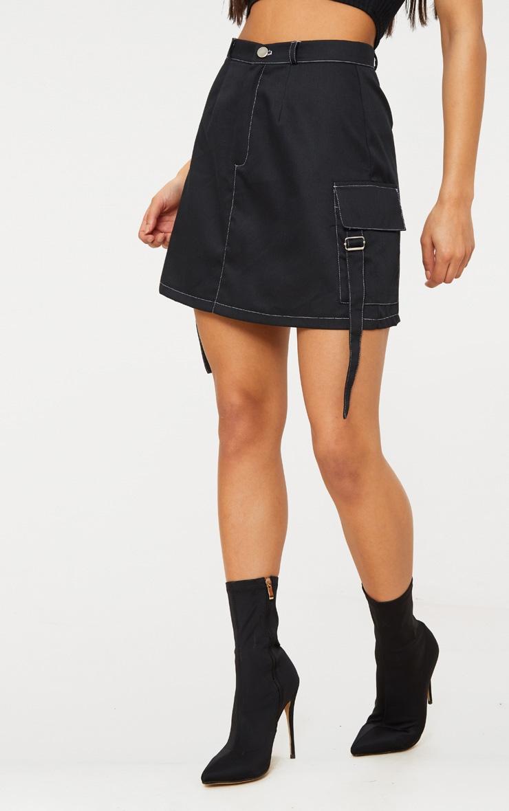 Black Contrast Stitch Buckle Pocket Detail A Line Skirt 2