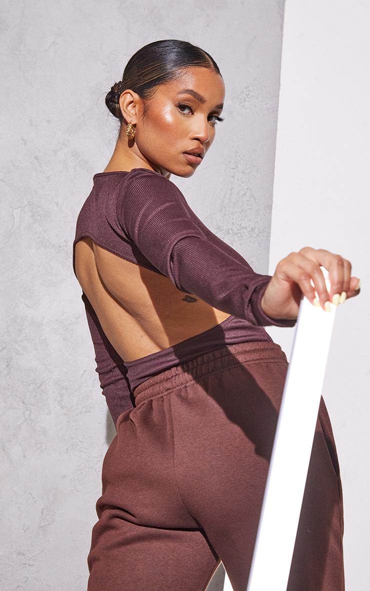 RENEW Petite Chocolate RibBackless Bodysuit 1