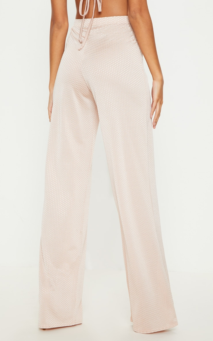 Rose Gold Textured Slinky Wide Leg Trousers 4