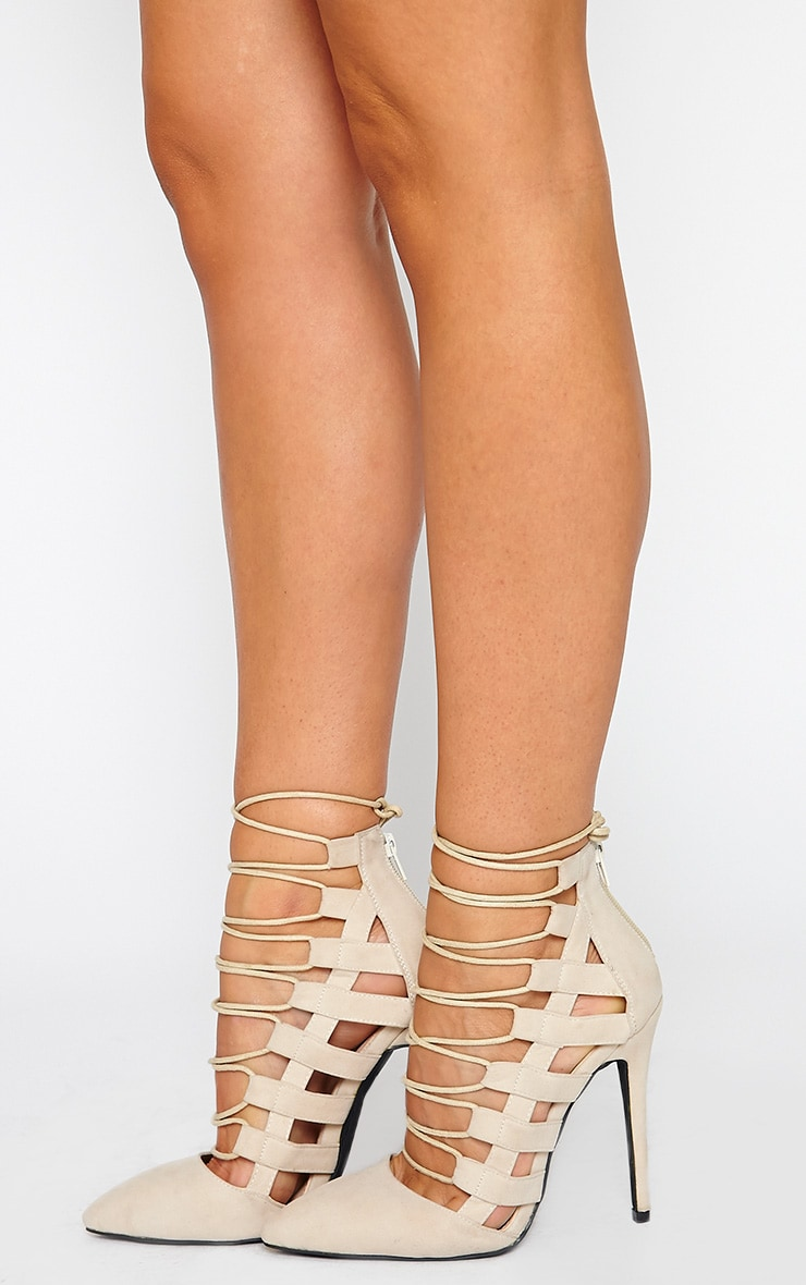 Amaris Nude Pointed Strappy Heels 2