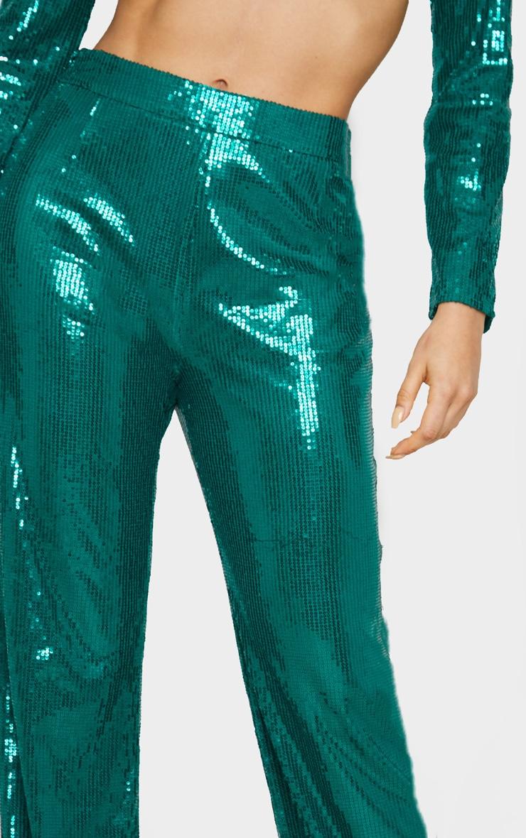 Tall Emerald Green Sequin Wide Leg Pants 5