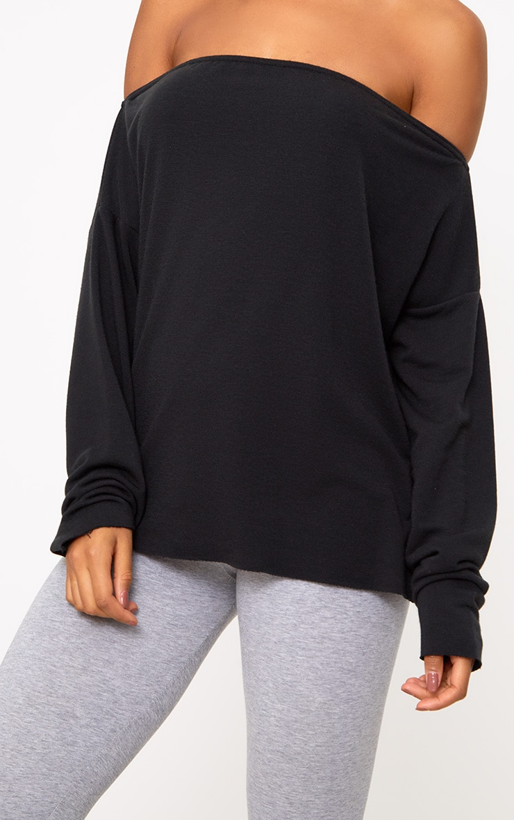 Black Bardot Raw Edge Sweater 5