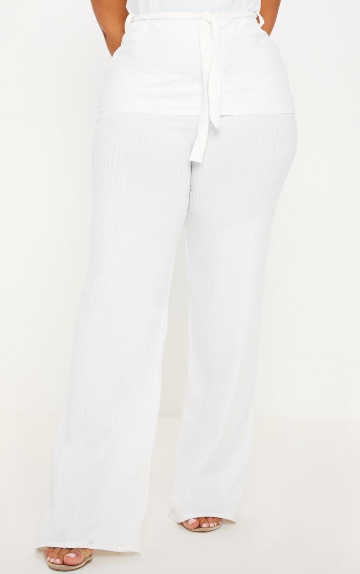 Plus Cream Rib Wide Leg Pants 2