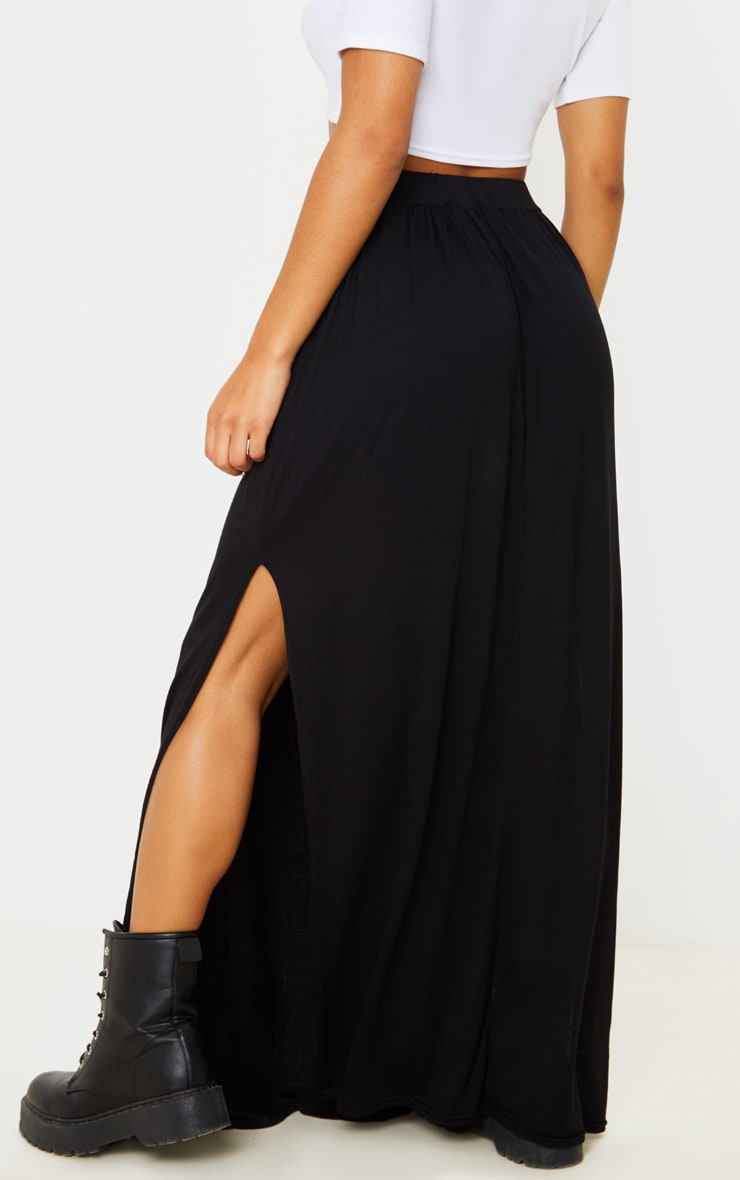 Black Jersey Drawstring Maxi Skirt 4