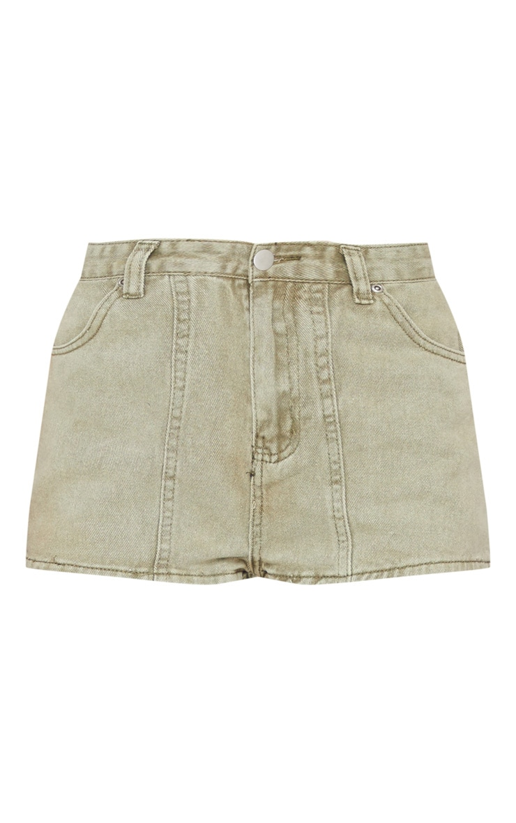 Washed Khaki Button Up Denim Shorts 5