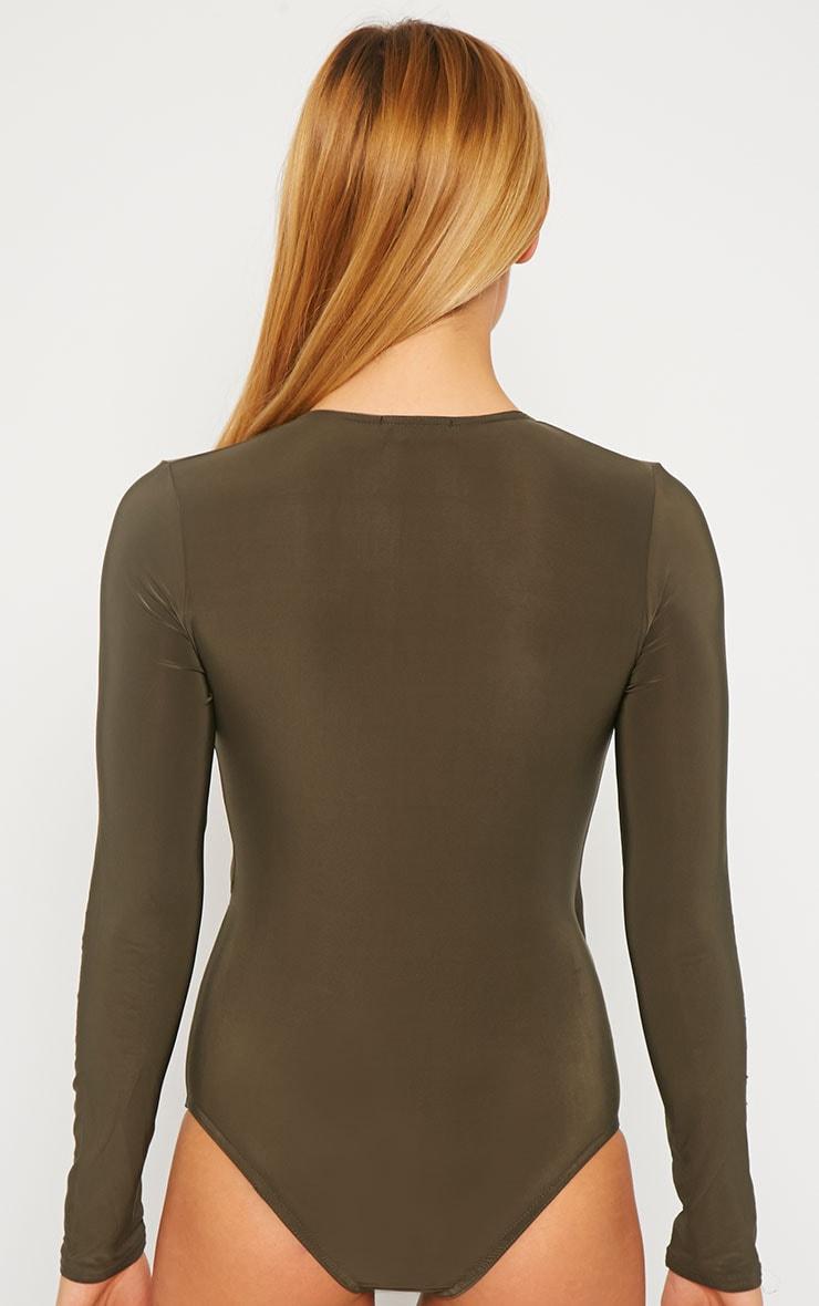 Sadie Dark Khaki Slinky Wrap Bodysuit 5