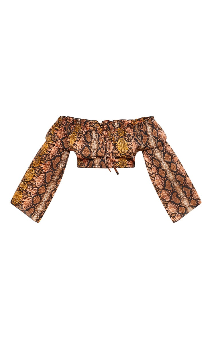 Plus Snake Print Frill Trim Bardot Crop Top 4