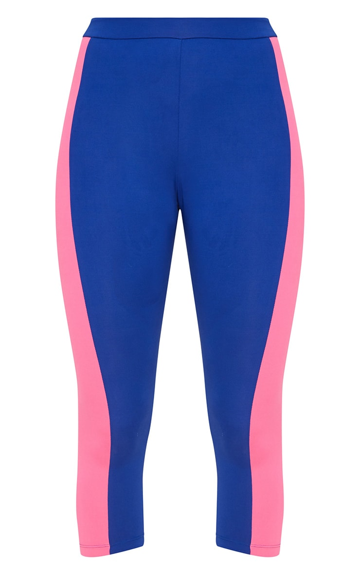 Blue Contrast Panel 3/4 Sports Leggings 4
