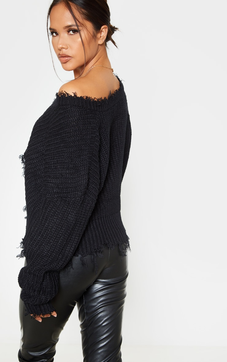 Black Fringe Hem Knitted Jumper 3