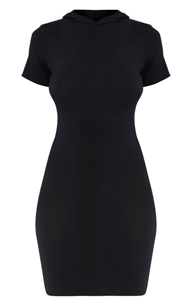 Ruby Black Jersey Hooded Short Sleeve Bodycon Dress 3