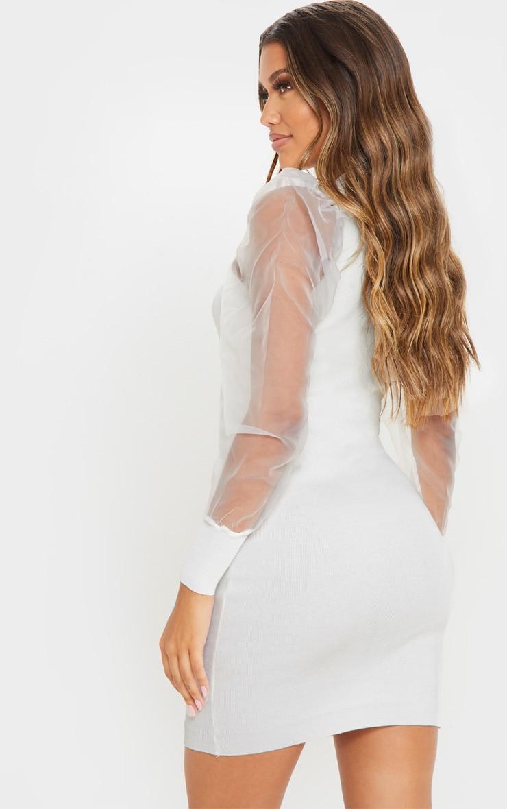 White Organza Puff Sleeve Dress 2