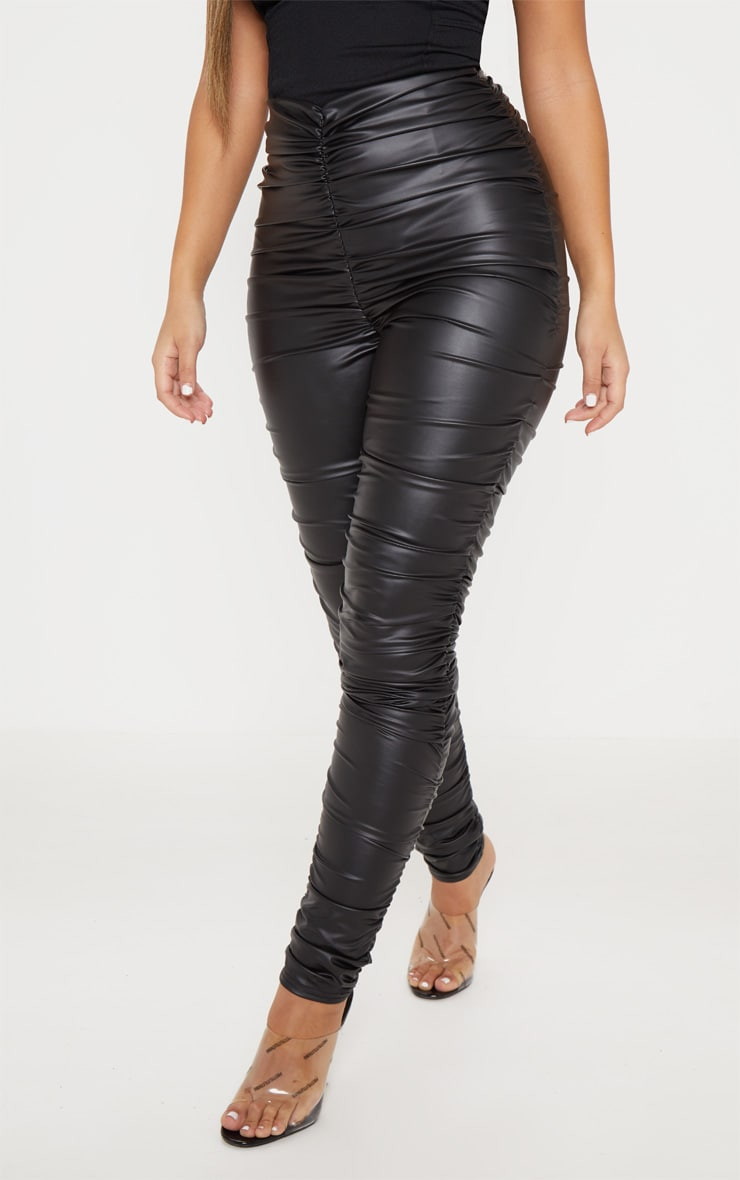 Black Coated Ruched Side Legging 2