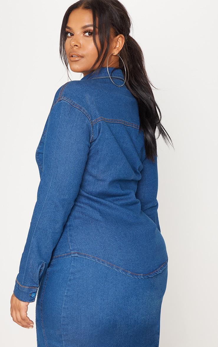 PLT Plus - Chemise en jean à délavage moyen 2