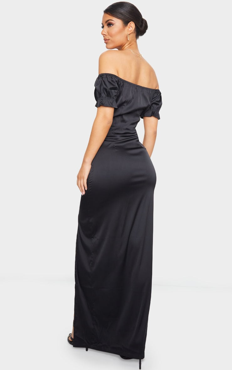 Black Satin Wrap Bardot Maxi Dress 2