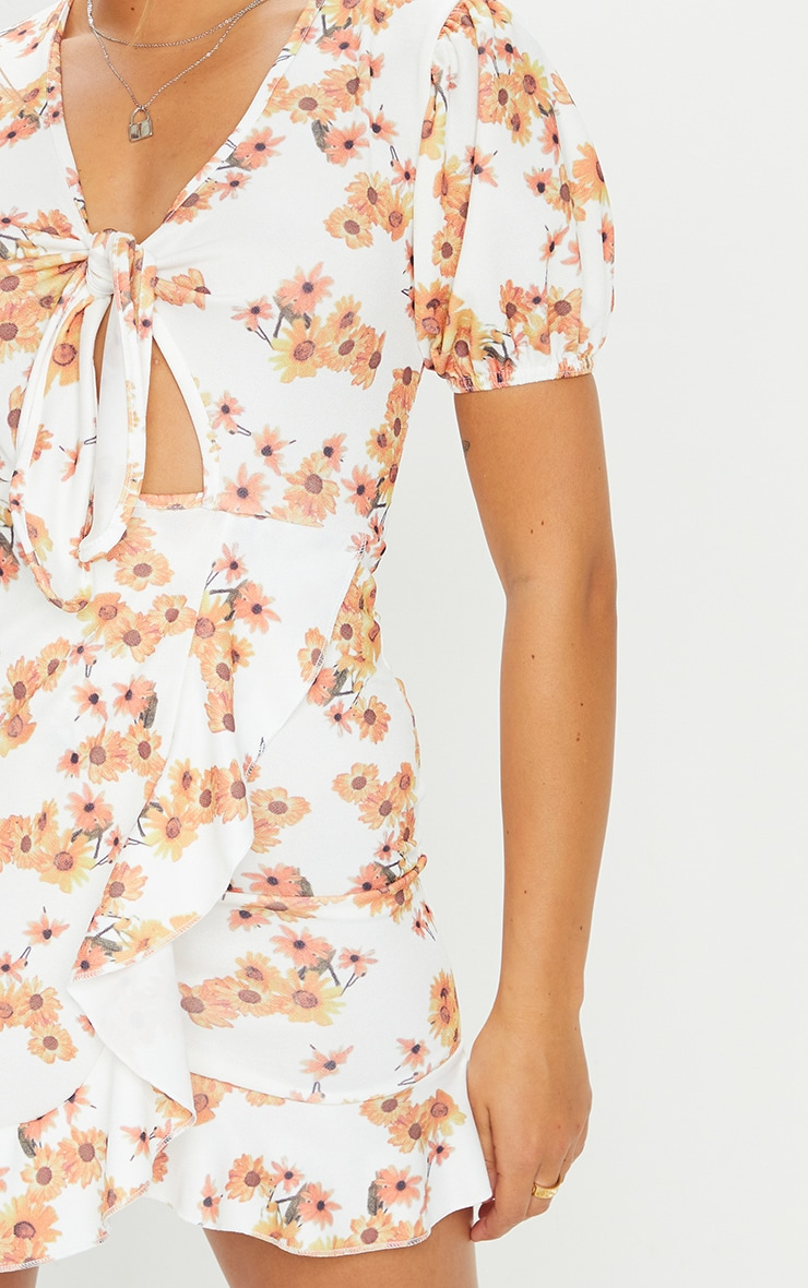 White Sunflower Print Tie Front Frill Tea Dress 4