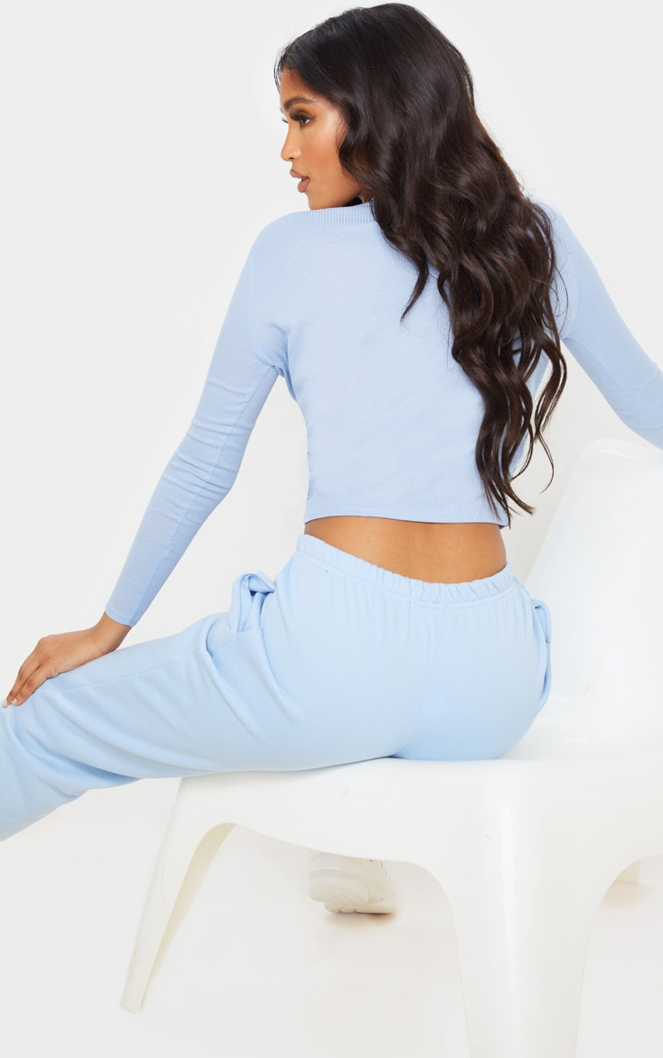 Baby Blue Rib Tie Front Long Sleeve Crop Top 2