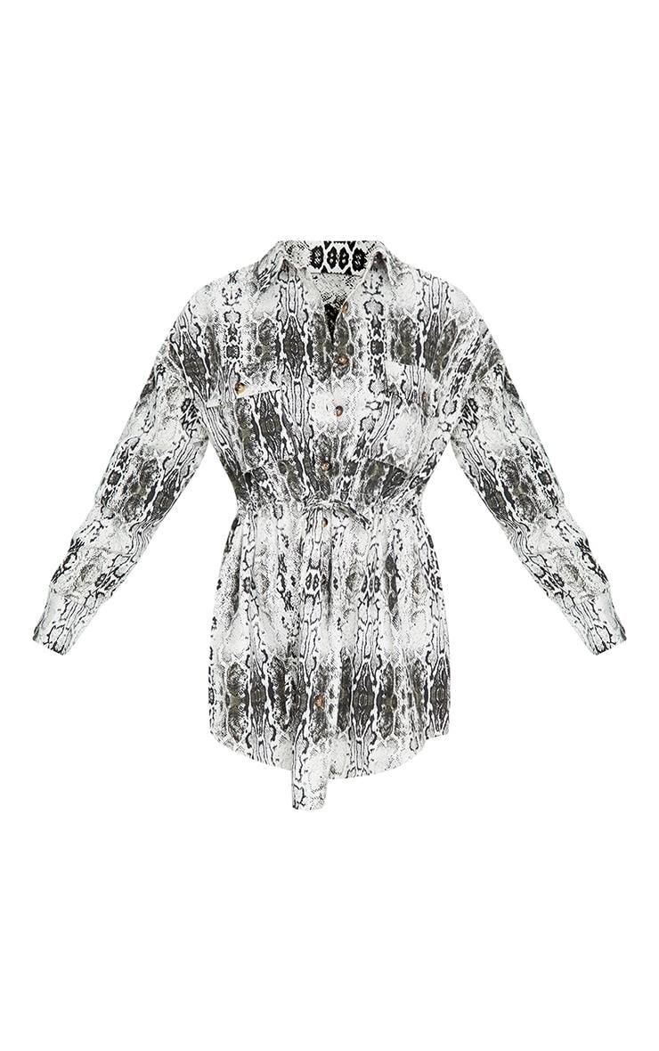 Grey Snake Print Pocket Detail Shift Dress 5